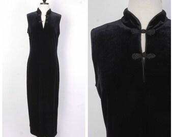 Black Velvet Fitted Formal Length Cheongsam Cocktail Dress Sleeveless Body Con Long Party LBD Small Medium