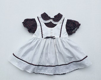 80s vintage toddler dress and pinafore overdress black and pink floral 2T toddler outfit