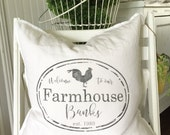 Welcome to our Farmhouse Personalized | Family Name | Distressed Label | Pillow Cover | Farmhouse Decor | Cottage Decor | Cottage Pillows