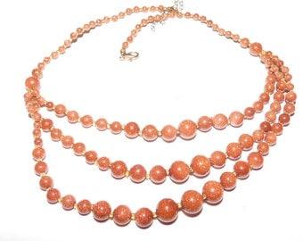 Vintage Brown Goldstone Sandstone Beaded Necklace