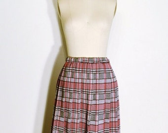 AUTUMN ARRIVAL 25% OFF Vintage 1970s Skirt - 70s High Waist Skirt - Grey and Red Pleated