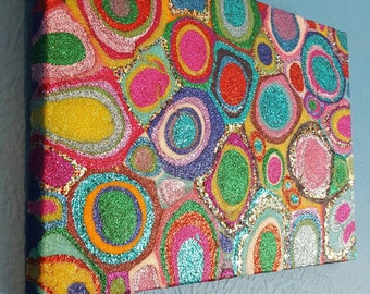 Colorful Glitter Painting Mixed Media Original Abstract Artwork Multi-coloured by Sharon Perry
