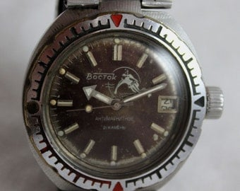 VOSTOK AMPHIBIAN Rare Vintage Military Komandirskie Divers Automatic Watch 200m Water Resistant made in USSR