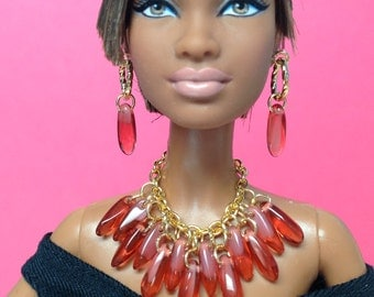 Barbie doll jewelry set gold with coral dagger beads - Made to Order