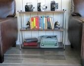 "Mid Century Steel Bookshelf ""Metal Litho Faux Parquet Wood"""