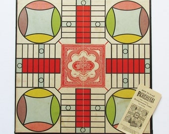 """1930s-40s Parcheesi Game Board """"Nice Graphics"""""""