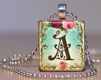 Vintage Monogram Letter A with  Roses - Pendant made from an Upcycled Scrabble Tile (171)