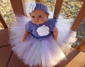Crochet Tutu Dress in Lilac with Lilac,White and Grey Tulle Skirt for 0-3 Month Baby Girl or Reborn Doll