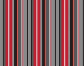Red Gray Black Stripe Cotton Fabric in Yard, 3/4, Half and 1/4 Blackbeard Stripe Gray for Quilting Sewing Applique by Riley Blake