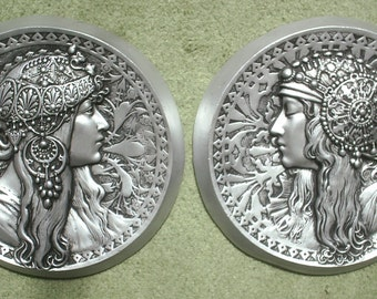 Art nouveau mucha style cameo wall plaques in a silver effect