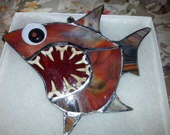 Stained Glass Shark with real Teeth by Barb's Design