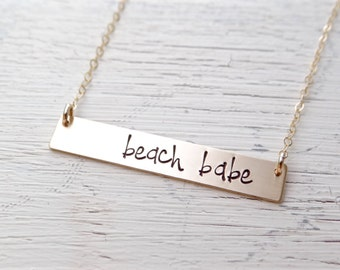Gold Bar Necklace - Beach Babe. Hand Stamped Jewelry. Nautical Necklace. Layering Bar Necklace, Beach Jewelry.