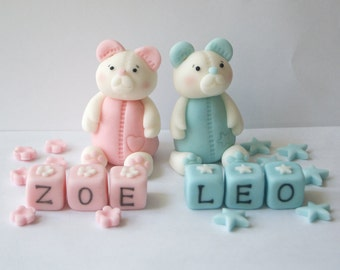 Personalised Handmade Edible Twin Baby Bear Birthday/Christening Cake Topper/Decoration