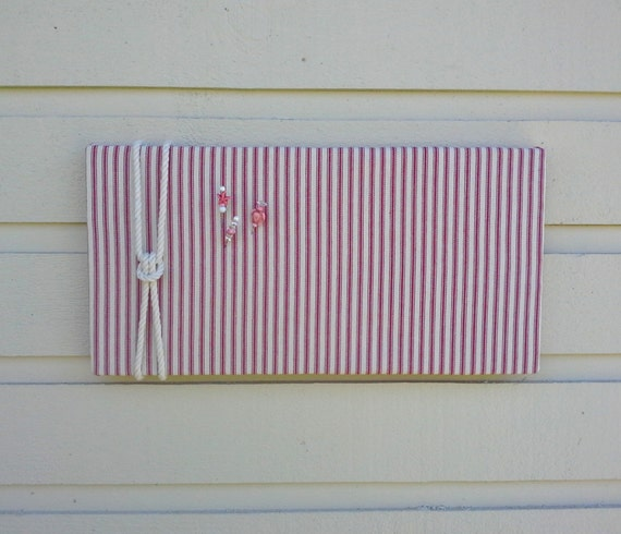Linen ticking pin board red and white striped bulletin board for Linen cork board
