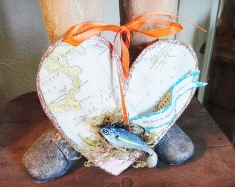 Man's Fishing Lure on Handmade Puffy Heart Decoration on vintage map paper