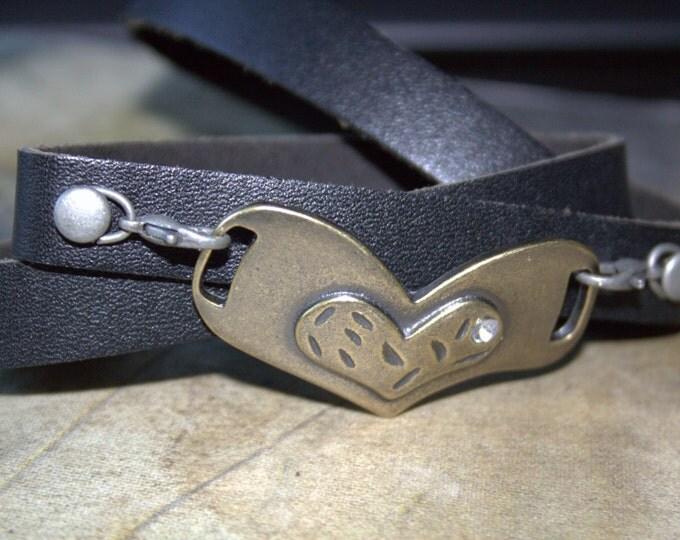 Brass Heart  Boho Leather Wrap Bracelet