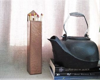 Hammered Metal Fireplace Match Holder / Upcycled Match Holder / Painted Copper Wood Stove Match Holder