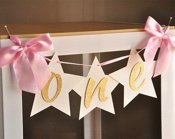 Twinkle Twinkle Little Star First Birthday.  One Highchair Banner. Handcrafted in 2-3 Business Days.  Pink and Gold Party Decorations.