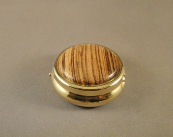 Medication Holder - Mini Pill Box - Purse - Zebrawood