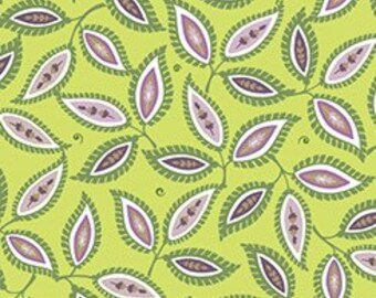 Quilting Treasures Devon Leaves Spring Green fabric - 1 yard