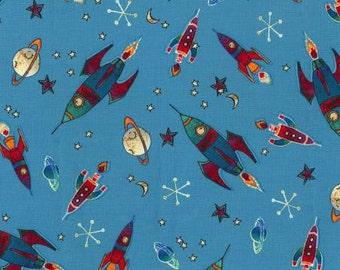 Michael Miller Novelties Teal To The Moon fabric - 1 yard