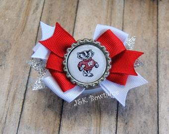 WI Badgers classic small hair bow...red...white...silver...bucky badger