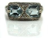 Aquamarine Engagement Ring Art Deco 3.00ctw Kite Shape Antique Aquamarine Ring 14K White Gold Vintage Aquamarine Diamond Ring!