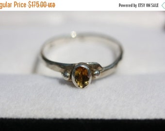20% OFF Valentines Sale Big Yeller Citrine Ring set in Fine Silver w Embossed Sterling Silver Ring Shank Size 10 - 10.5