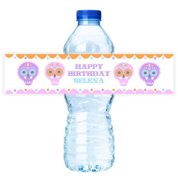 sugar skull  party water  bottle  labels by bushel  u0026 peck