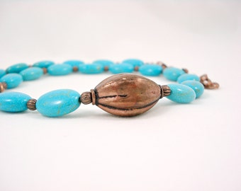 Statement Turquoise Necklace Copper Beaded Necklace Blue Gemstone Jewelry Collier Turquoise et Cuivre Gift Idea