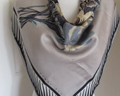 "Perry Ellis // Beautiful Light Brown/Gray Silk Scarf  // 31"" Inch 78cm Square"