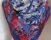 "Beautiful Blue Red Floral Ladies Silk Scarf // 33"" Inch 84cm Square // Best of the Best"
