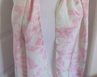 "ECHO // Lovely Pink Ivory Floral Soft Silk Scarf // 12"" x 50"" Long"