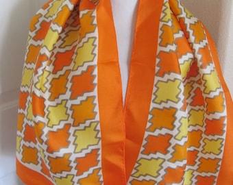 "ECHO // Lovely Vintage Yellow Orange Silk Scarf // 15"" x 44"" Long"