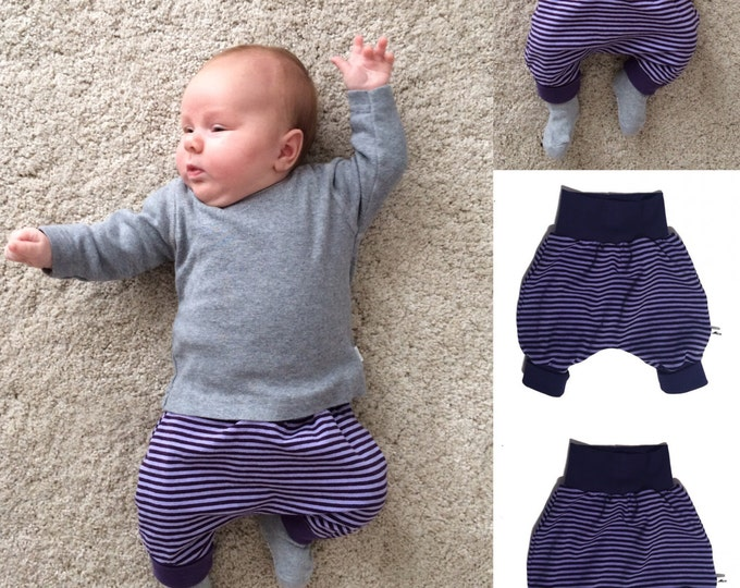 Baby kids toddler girl boy clothing harem pants baggy pants sweat pants, stripes purple, girls outfit. Size preemie - 3 y