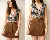 1990's Vintage Indian Gauze Grunge Floral Print Crop Top With Ruffle