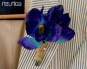 RESERVED for Breanna until 5/19 -- Peacock Blue Real Touch Double  Cymbidium Orchid Groomsmens Beach Wedding Boutonniere