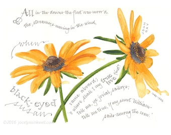 Black-eyed Susan, poem giclee print from original watercolor painting, 8x10