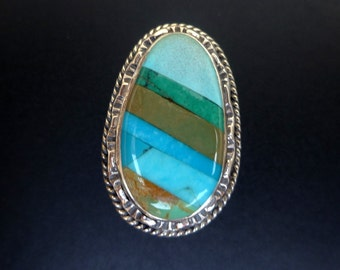 Blue Green Statement Ring - Handmade Sterling Silver and Turquoise Inlay Statement Ring - Boho Turquoise Ring - Size 8