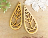 WP02 / #11 Nature Wood /Wood long Tree Pairs for Earring / Laser Cut Tear Drop Tree Wooden Charm/ Dangle/Light Weight Wood Charm/Dangle