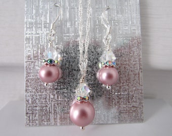 Powder Rose Jewelry Set, Necklace And Earrings Set, Swarovski Necklace And Earrings, Wedding Jewelry, Free US Shipping