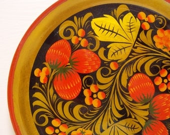 Russian Khokhloma Wood Lacquer Decorative Tray Red and Gold Strawberry Design