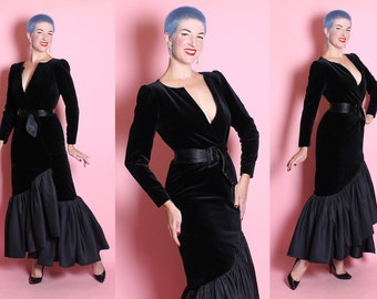 DESIGNER 1950's Inspired Silk Velvet Extreme Hourglass Evening Gown w/ 3D Silk Taffeta Mermaid Hem & Waist Cinching Belt by TRAVILLA - M L