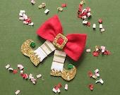 Holiday Hair Bows, Christmas Elf Hair Bow Clip, Holiday Gifts for girl, giddyupandgrow