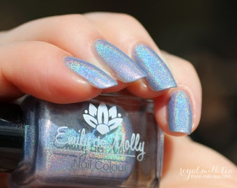 "Nail polish - ""Silk Square"" light periwinkle blue linear holographic polish"