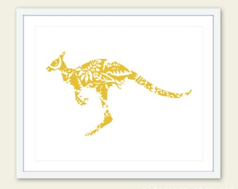 Kangaroo Art Print - Floral Kangaroo Wall Art - Baby Nursery Decor - Mustard Yellow - Custom Color