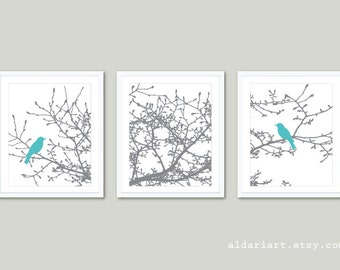 Birds on Magnolia Tree Branches Prints - Set of 3 - Birds on Branches Wall Art - Magnolia Tree Triptych - Nursery Decor - Nursery Wall Art