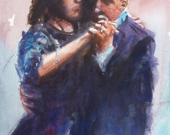 """Original watercolor painting """"Tango partners"""" 6"""" x 9"""" this is an Original painting not a print"""