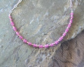 Pink Sapphire Beaded Necklace in Sterling Silver, READY TO SHIP