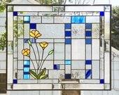 "Three California Poppies Geometric Custom--Two Panels 20 7/16"" tall x 25 7/16""  wide"